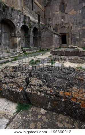 In the yard of ancient Tatev monastery Armenia