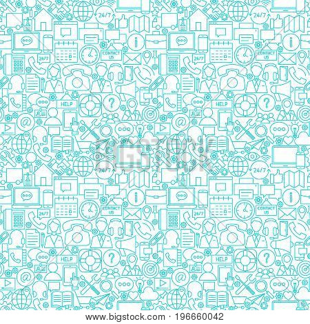 Line Contact White Seamless Pattern. Vector Illustration of Outline Tile Background. Business Communication.