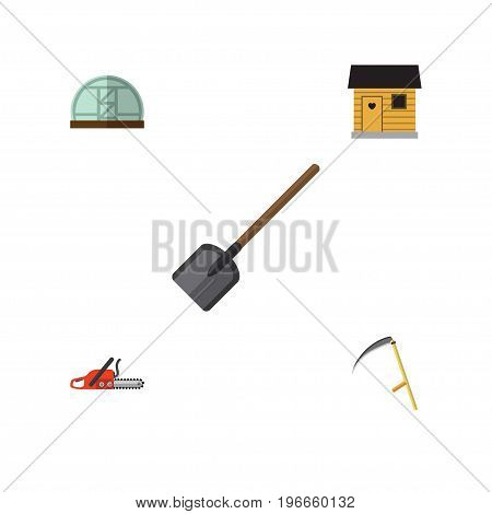 Flat Icon Dacha Set Of Hacksaw, Cutter, Stabling And Other Vector Objects