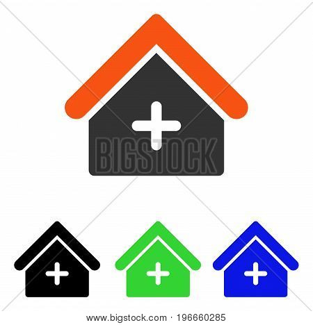 Clinic Building vector pictogram. Illustration style is a flat iconic colored symbol with different color versions.