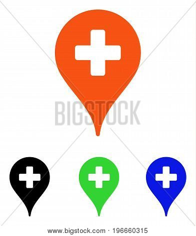 Clinic Map Pointer vector pictogram. Illustration style is a flat iconic colored symbol with different color versions.
