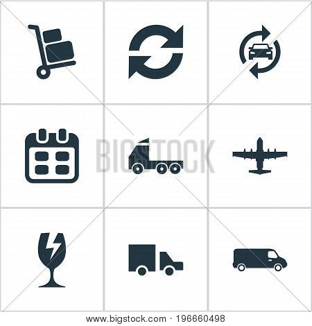Elements Repeatability, Plane, Luggage Bearer And Other Synonyms Calendar, Aviation And Industry.  Vector Illustration Set Of Simple Conveyance Icons.