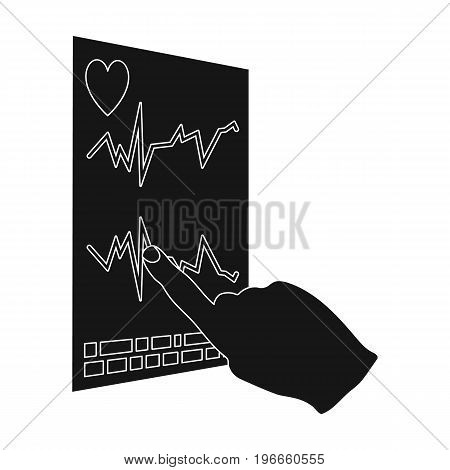 Studying the cardiogram of the heart. Medicine single icon in black style vector symbol stock illustration .