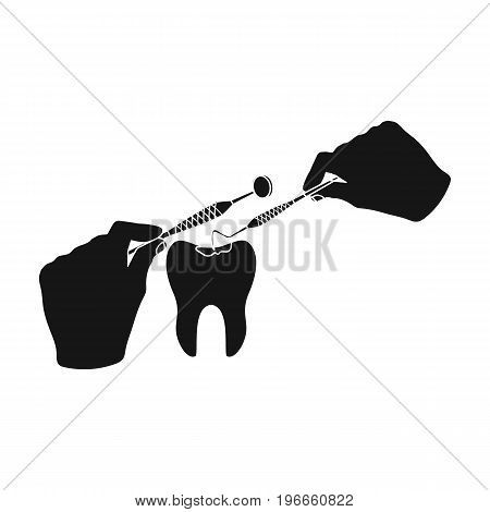 Manipulation, gesture of the hands of the dentist with the instrument over the damaged tooth. Stomatology single icon in black style vector symbol stock illustration .