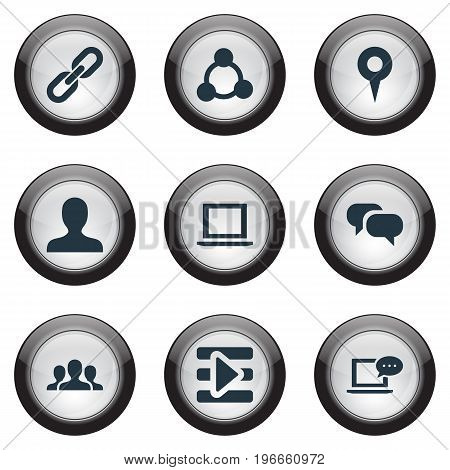 Elements Web, New Mail, Team And Other Synonyms User, Link And Message.  Vector Illustration Set Of Simple Social Icons.