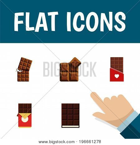 Flat Icon Sweet Set Of Chocolate Bar, Wrapper, Cocoa And Other Vector Objects