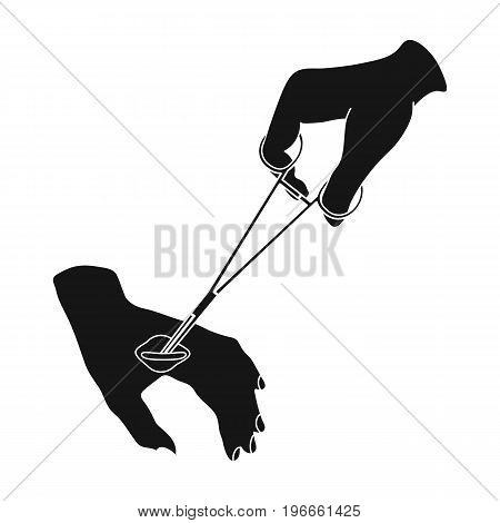 Manipulation, treatment of a wound on the arm with a medical instrument. Traumatology single icon in black style vector symbol stock illustration .