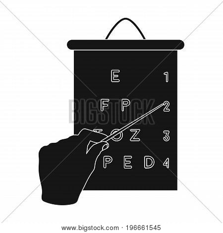 Gesture, manipulation of the hand with a pointer when checking the vision according to the table. Medicine single icon in black style vector symbol stock illustration .
