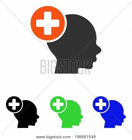 Head Treatment vector pictograph. Illustration style is a flat iconic colored symbol with different color versions.