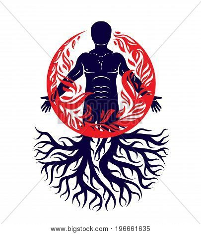 Vector illustration of human being created with tree roots. Human and nature harmony fire man covered with a fireball.