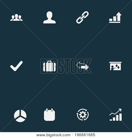 Elements Round Diagram, Staff, Check Mark And Other Synonyms Strength, Diagram And Staff.  Vector Illustration Set Of Simple Plan Icons.