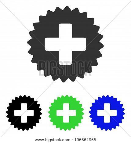 Health Care Stamp vector pictograph. Illustration style is a flat iconic colored symbol with different color versions.