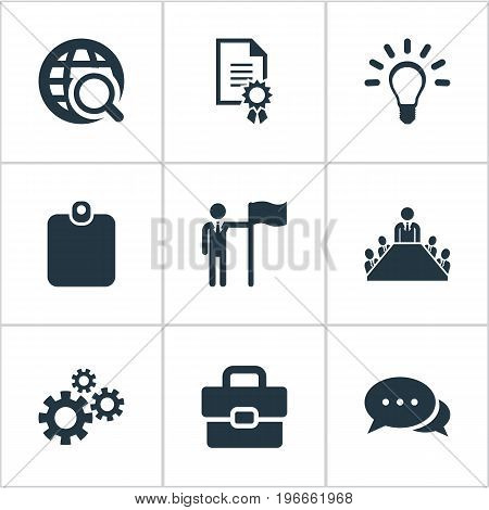 Elements Leader, Conversation, Identification Card And Other Synonyms World, Card And Diploma.  Vector Illustration Set Of Simple Resources Icons.