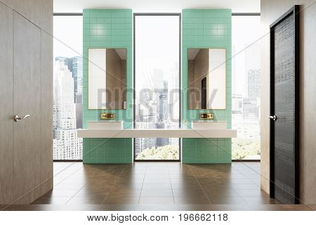 Green Bathroom, Double Sink
