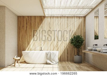 Wooden Bathroom Interior With A Tub And A Tree