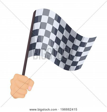 A racing, starting and finishing fluttering flag in his hand. Checkered flag single icon in cartoon style vector symbol stock illustration .