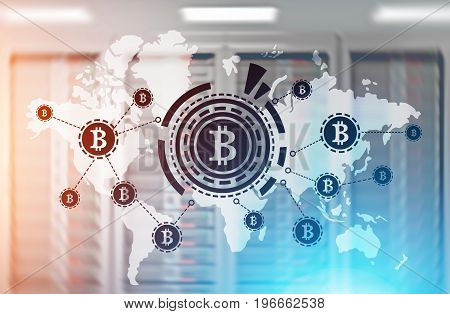 Bitcoin network sketch with a large bitcoin sign inside an HUD in front of a world map. Server room background. Toned image double exposure.