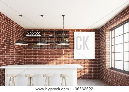 Brick wall cafe with a white bar stand a row of stools a vertical poster hanging near a wooden shelf and three ceiling lamps. 3d rendering mock up