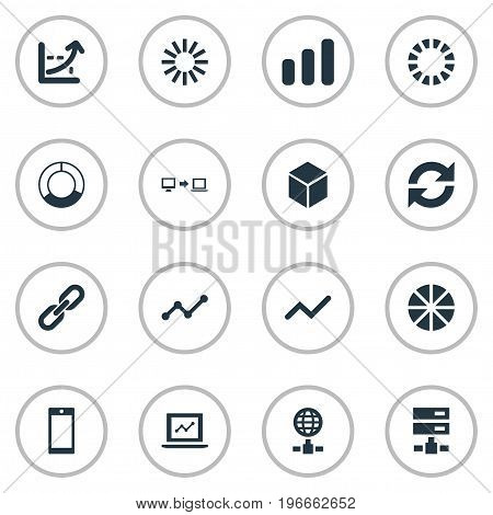 Elements Presentation, Hosting, Preloader And Other Synonyms Spread, Cellphone And Sending.  Vector Illustration Set Of Simple Business Icons.