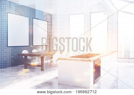 Gray kitchen interior with narrow tall windows a long marble table two rows of yellow chairs a wooden countertop and two framed posters. 3d rendering mock up toned image double exposure