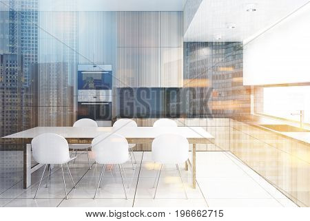 Luxury wooden kitchen interior with a long white table original chairs near it built in ovens and cookers and a long window. 3d rendering mock up toned image double exposure