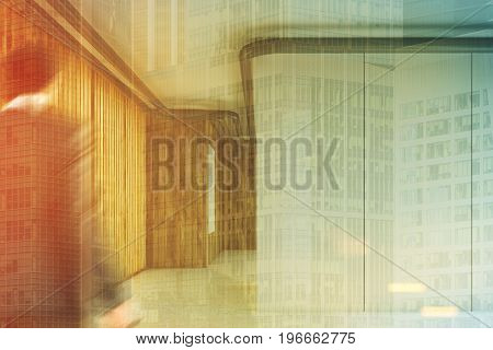 White and wooden modern office lobby with a wall made of white panels and wooden corridor walls with a vertical poster in the background. Man. 3d rendering mock up toned image double exposure