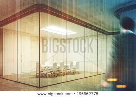 Corner of a glass meeting room with a poster hanging on a gray wall. Glass walls a long table with white chairs around it. Businessman. 3d rendering mock up toned image double exposure