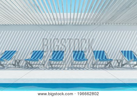 Blue deck chairs near an outdoors swimming pool with a ceiling made of white wooden planks. Concept of rest. 3d rendering mock up