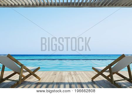 Two deck chairs standing near a pool. Ocean. Wooden floor and ceiling. Cloudless sky. 3d rendering mock up