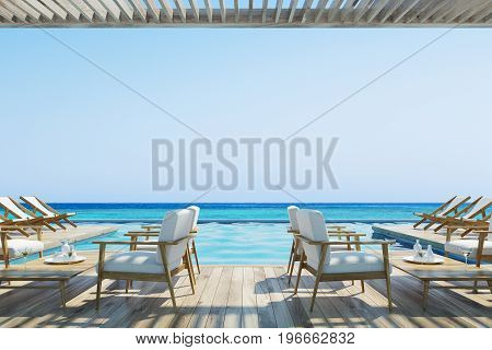 White armchairs standing near wooden tables in a cafe with a wooden ceiling and floor. Pier. Seaside. 3d rendering mock up
