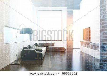 Gray Sofa Living Room, Tv Set And Poster Toned