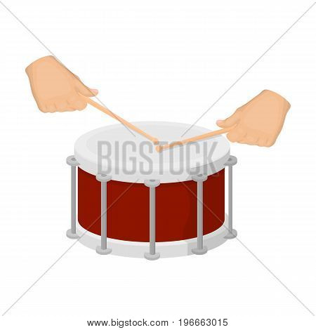 Drum, percussion musical instrument. Drum shot single icon in cartoon style vector symbol stock illustration .