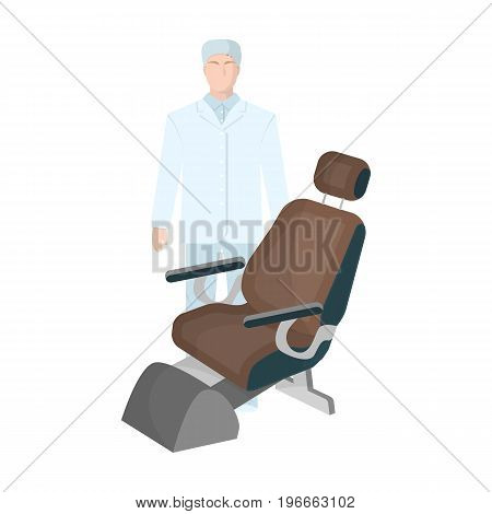 The doctor is a dentist in a white dressing gown in the office next to the chair. Medicine single icon in cartoon style vector symbol stock illustration .