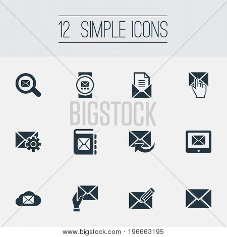 Elements Make Up, Entering, Receiver And Other Synonyms Tablet, Notepad And Settings.  Vector Illustration Set Of Simple Communication Icons.