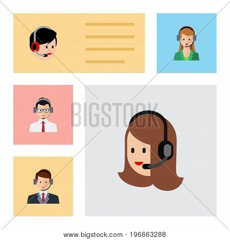 Flat Icon Telemarketing Set Of Service, Hotline, Secretary And Other Vector Objects