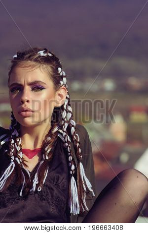 Woman Has Stylish Hair With Rope.