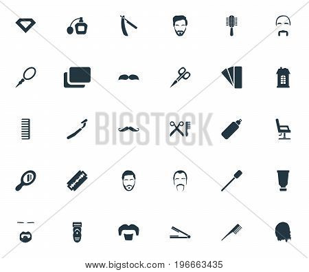 Elements Looking-Glass, Bottle, Comb And Other Synonyms Gem, Straight And Hipster.  Vector Illustration Set Of Simple Hairdresser Icons.