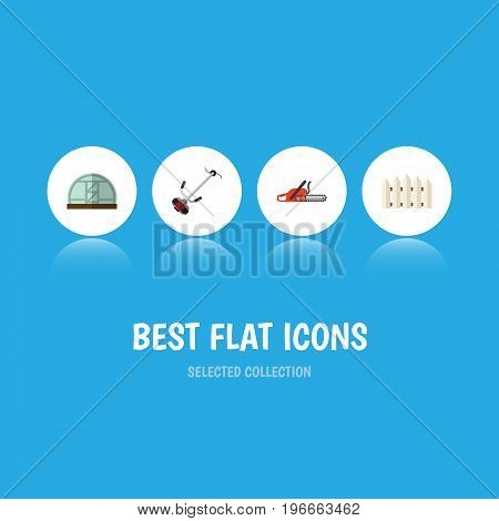 Flat Icon Dacha Set Of Hothouse, Grass-Cutter, Hacksaw And Other Vector Objects