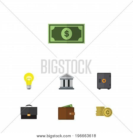 Flat Icon Gain Set Of Greenback, Portfolio, Cash And Other Vector Objects