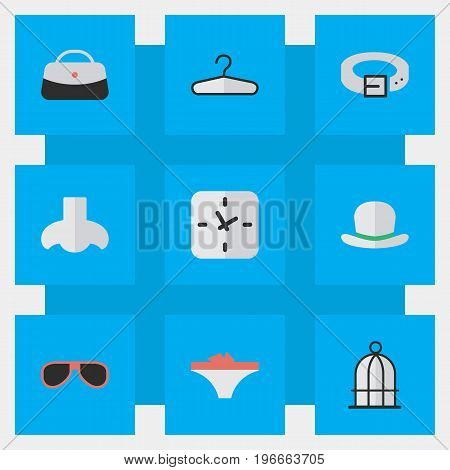 Elements Clothes Hook, Birdcage, Time And Other Synonyms Time, Birdcage And Handbag.  Vector Illustration Set Of Simple Equipment Icons.