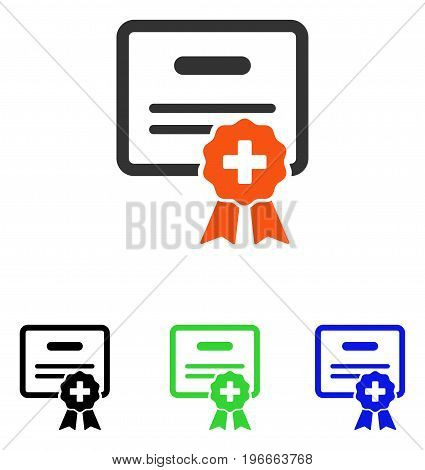 Medical Certification vector icon. Illustration style is a flat iconic colored symbol with different color versions.