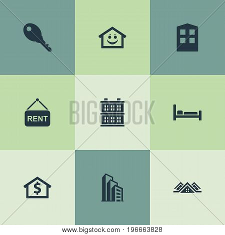 Elements Building, Smiley Casa, Construction And Other Synonyms Carcass, Hotel And Structure.  Vector Illustration Set Of Simple Real Icons.
