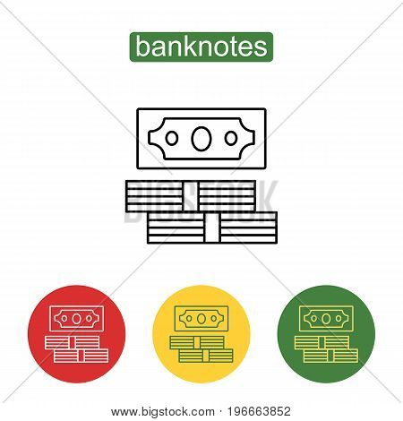 Stack of cash line art icon. Stack of dollar bills icon thin line for web and mobile, modern minimalistic flat design. American dollars, pack, parcel, modern design isolated on white background.