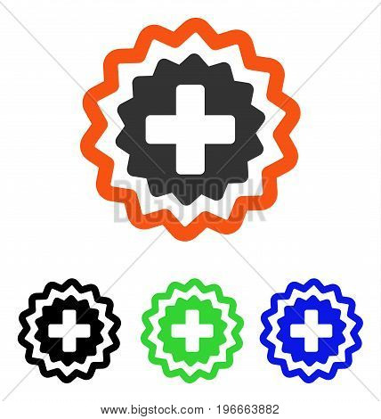 Medical Cross Stamp vector icon. Illustration style is a flat iconic colored symbol with different color versions.