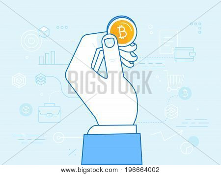 Vector Illustration In Line Flat Style And Blue Colors - Bitcoin And Crypto Currency Concept