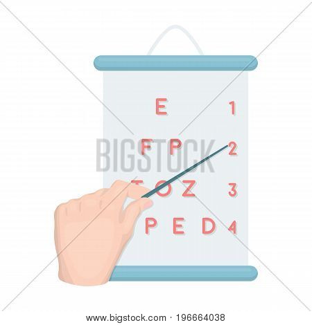 Gesture, manipulation of the hand with a pointer when checking the vision according to the table. Medicine single icon in cartoon style vector symbol stock illustration .