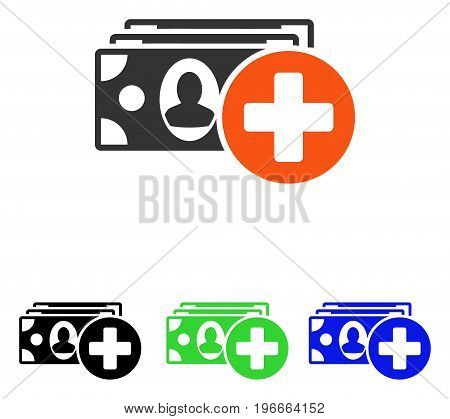 Medical Expences vector pictograph. Illustration style is a flat iconic colored symbol with different color versions.