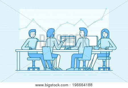 Vector Illustration In Line Flat Style And Blue Colors - Teamwork Concept
