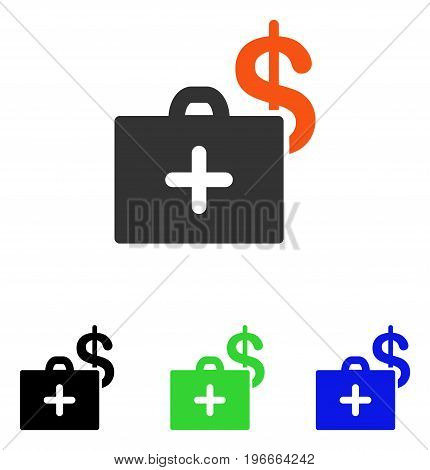 Medical Fund Case vector icon. Illustration style is a flat iconic colored symbol with different color versions.