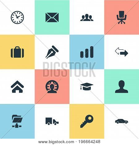 Elements Client, Clock, Member And Other Synonyms Delivery, Left And Folder.  Vector Illustration Set Of Simple B2B Icons.